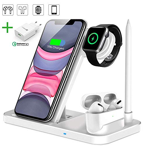 Kabelloses Ladegerät, 4 in 1 Wireless Charger Weiß für Apple Watch, Airpods, iPhone 11/Pro Max/XS/XR/X/8, Galaxy S20/S10 (Mit QC3.0 Adapter)