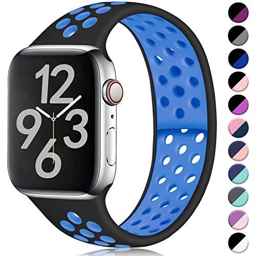 Hamile Kompatibel für Apple Watch Armband 42mm 44mm,Dual Farbe Weiches Silikon Atmungsaktiv Sportarmband für Apple Watch Series 5/4/3/2/1, M/L Dunkel Schwarz/Blau