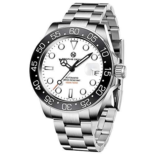 PAGRNE DESIGN Uhren Herren Automatik Elegant Business Sports Mechanisch Armbanduhr Herren Saphirglas Wasserdicht 100M Edelstahl Taucheruhren