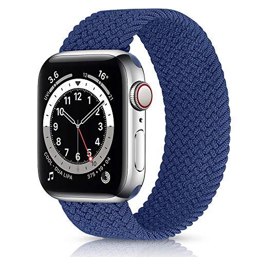 KLUCK Geflochtenes Solo Loop Armband Kompatibel mit Apple Watch Series 1/2/3/4/5/6/7/SE (Blau, 38mm/40mm M (145mm Länge))