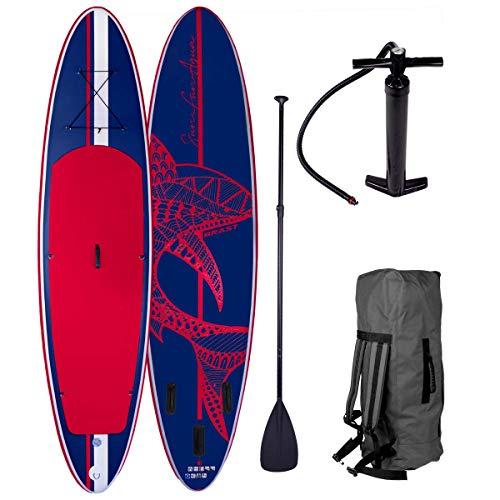 SUP Board Stand up Paddle Paddling Shark Blau Rot 320x76x15cm aufblasbar Alu-Paddel Hochdruck-Pumpe Transportrucksack 130KG