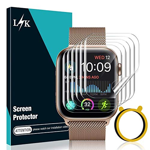 [6 Stücke] LϟK Schutzfolie Displayschutzfolie für Apple Watch Series 6/5/4/SE 44mm, [Blasenfreie] [Kompatibel mit Hülle] HD klar Flexible TPU Displayschutzfolie