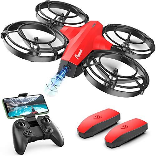 Potensic Mini Drohne mit Kamera für Kinder, FPV WiFi Live Übertragung, verbesserter Propellerschutz, 3D-Flip, Kampfmodus, Induktion der Schwerkraft, Höhenlage, kopfloser Modus, Spielzeuggeschenk, Rot