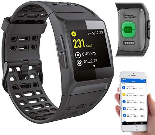 newgen medicals Sport Uhren: GPS-Sportuhr, Bluetooth, Fitness, Puls, Nachrichten, Farbdisplay, IP68 (Smartwatch GPS)