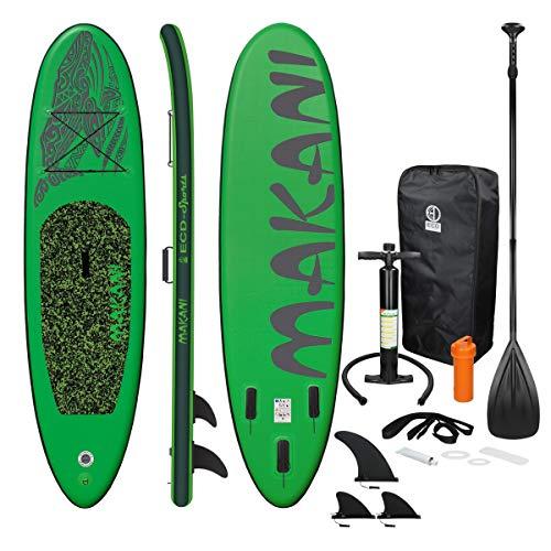 ECD Germany Aufblasbares Stand Up Paddle Board Makani | 320 x 82 x 15 cm | Grün | PVC | bis 150kg | Pumpe Tragetasche Zubehör | SUP Board Paddling Board Paddelboard Surfboard | Verschiedene Modelle