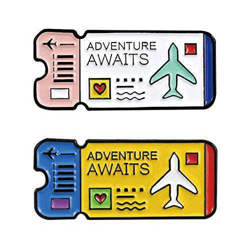 Lankater 2pcs / Set Reisen Revers Pin Flugticket Emaille-brosche Abzeichen Bekleidung Accessoires Geschenke