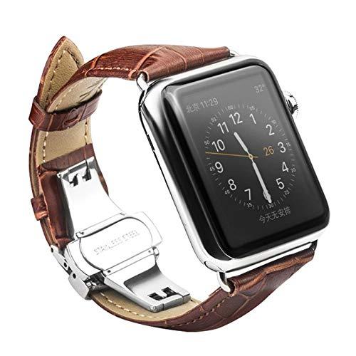CoverKingz Leder Armband für Apple Watch Series 6/SE/5/4/3/2/1, Lederarmband für 42mm/44mm, Edelstahl Butterfly Faltschließe, Leder Band Hell Braun