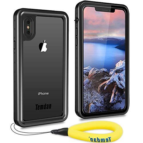 Temdan iPhone X Hülle, Wasserdicht Transparent Stoßfest 360 Grad Rundumschutz mit Eingebautem Displayschutz Outdoor TPU Rahmen Bumper Handyhülle Schutzhülle für iPhone X
