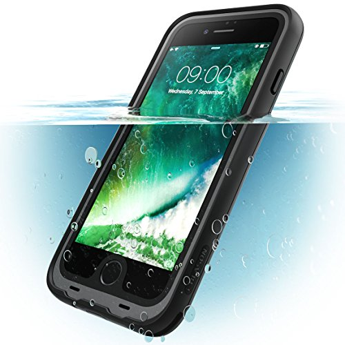i-Blason iPhone 8 Plus Hülle Wasserdicht iPhone 7 Plus Hülle 360 Grad Handyhülle Bumper Case Robust Schutzhülle Cover [Aegis] mit eingebautem Displayschutz, Schwarz