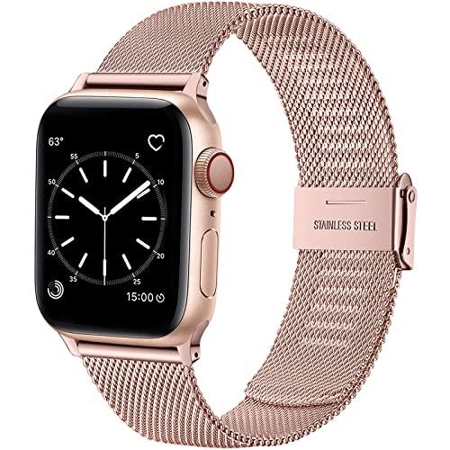 Wepro Ersatzarmband Kompatibel mit Apple Watch Armband 41mm 40mm 38mm für Damen/Herren, Mesh Geschäft Metall Uhrenarmband für Apple Watch SE/iWatch Series 7 6 5 4 3 2 1, 41mm 40mm 38mm/RoséRosa