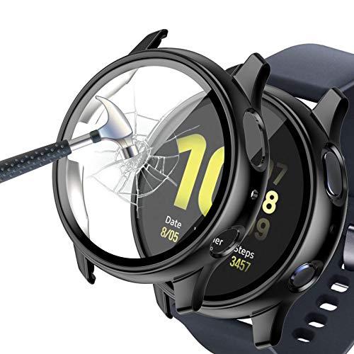 Jvchengxi Kompatibel mit Samsung Galaxy Watch Active 2 40mm Hülle Mit Panzerglas Displayschutz, Ultradünne PC Schutzhülle HD Schutzfolie Vollschutz Gehäuse für Galaxy Watch Active 2 (Schwarz)