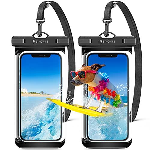 Syncwire wasserdichte Handyhülle Unterwasser Wasserfester - 7 Zoll Seitentasten Nahtloses Design Wasserdicht Handy Hülle Handytasche für iPhone 12 Pro Max SE 11 XS XR 8P 7 6 Samsung Huawei - 2 Stück