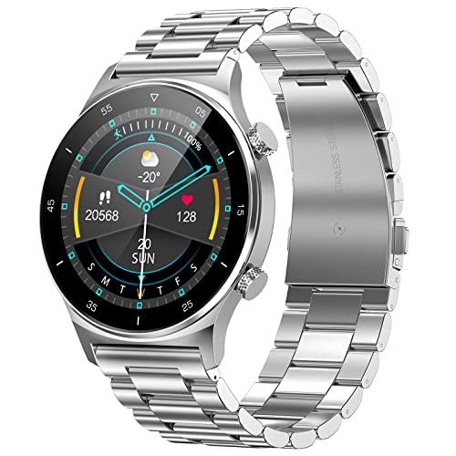 Smartwatch Herren Mode, IP68 Wasserdicht Bluetooth Musik Gesundheitsmonitor Fitness Activity Tracker für Android iOS Handys, Silber Edelstahl Sportuhr Gifted Strap