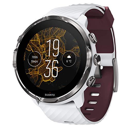 Suunto 7. GPS Sport Smartwatch mit Wear OS by Google – Weiß/Burgunderrot