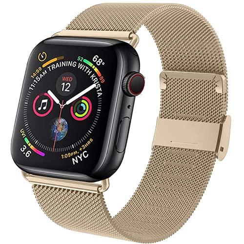 Daihook Ersatzarmband Kompatibel mit Apple Watch Armband 42mm 44mm, Metal Edelstahl Armband mit Magnet kompatibel mit iWatch Serie 6/Serie 5/Serie 4/Serie 3/Serie 2/Serie 1/Apple Watch SE - Golden