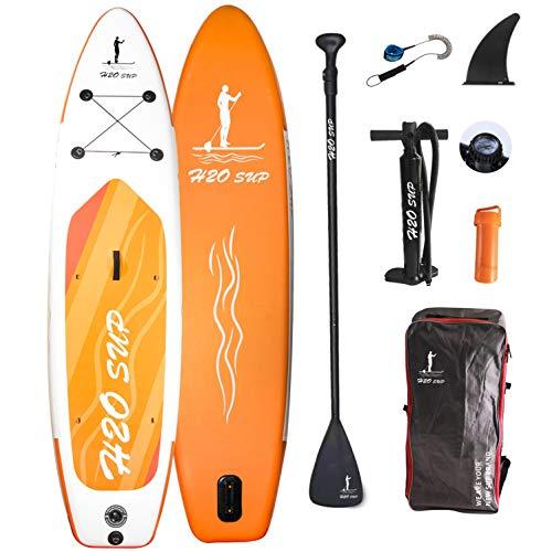 H2OSUP Aufblasbares Stand Up Paddle Board, 15 cm Dickes SUP Boards Ultra-Leichtes Stand Up Paddling mit langlebigem SUP Zubehör & Rucksack für Jugendliche & Erwachsene