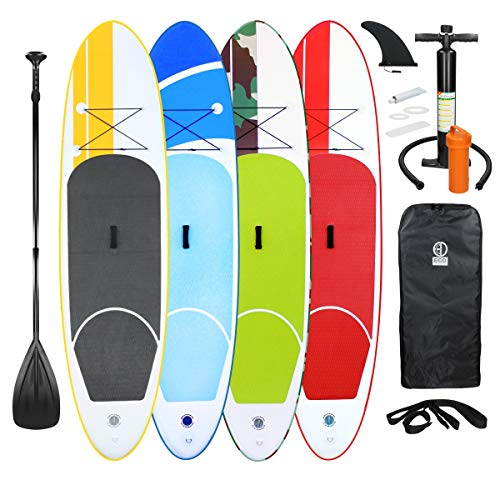 ECD Germany Aufblasbares Stand Up Paddle Board Set, Grün, 308x76x10 cm, aus PVC, bis 120 kg, Alu-Padde, Komplettes Zubehör, SUP Board Paddling Board Paddelboard Surfboard Surfbrett Paddelbrett