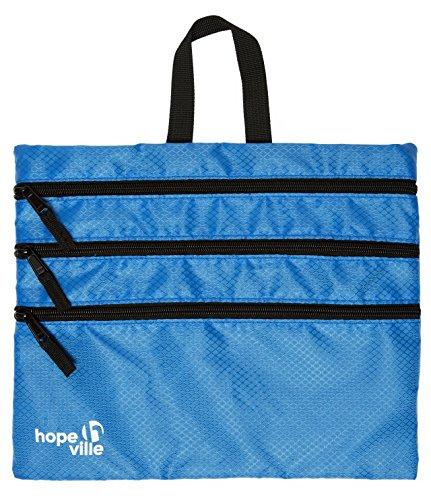 HOPEVILLE Reißverschlusstasche, 4 in 1 Reise Organizer mit 4 großen Fächern für Reiseunterlagen, Tablet und Reiseutensilien, Premium Taschenorganizer für Reise, Freizeit und Ausflug (Blau)