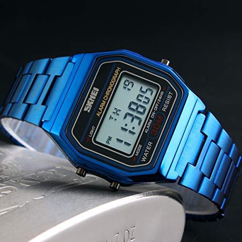 Topsale-ycld Luxury Business Watch 30M wasserdichte Edelstahl-Sportuhr-Digitaluhr-Armbanduhr (Color : Blau)