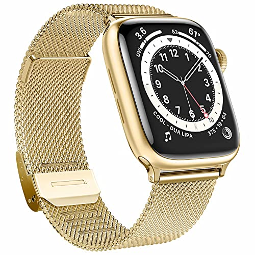 Fengyiyuda Ersatzarmband Kompatible mit Apple Watch Armband, Metall Edelstahl Armband mit Schnalle mit Apple Watch Series SE 6 5 4 3 2 1,Gold,42/44mm