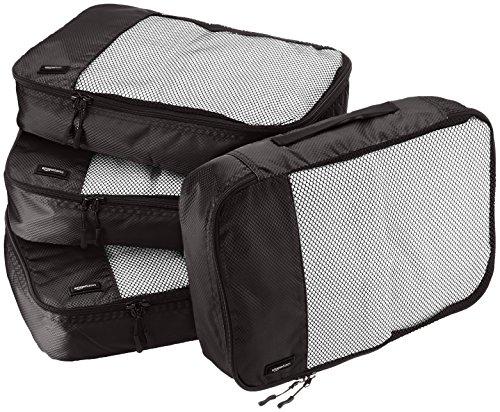 Amazon Basics Mittelgroße Kleidertaschen, 4 Stück, Schwarz