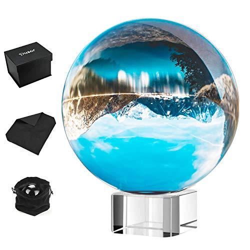 Dusor Glaskugel Fotografie, K9 Glas Lensball Foto Glaskugel, klar kristallkugel Deko, Fotoglasball mit Ständer und Box, Crystal Ball Fotografie Schneekugel Geschenke für Freund, 80mm/3.14inch