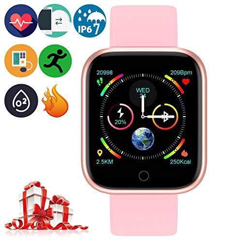 Bluetooth Smartwatch - Intelligente Armbanduhr Gesundheitsmessung (Herzfrequenz Blutdruck Blutsauerstoff Schlaf) Fitness Tracker Schrittzähler Sportdaten Tracking (P70 Rotgold)