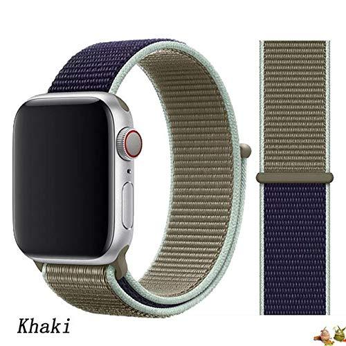 Stoffe-Monster für Apple Watch Armband Sport Loop Khaki blau 38mm / 40mm