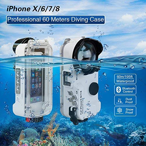iPhone X/6/7/8 Waterproof Case White Bluetooth Control,195FT/60M IPX8 Certified Waterproof Underwater Swimming Diving Surfing Snorkeling case with Wide Angle Dome Port Lens