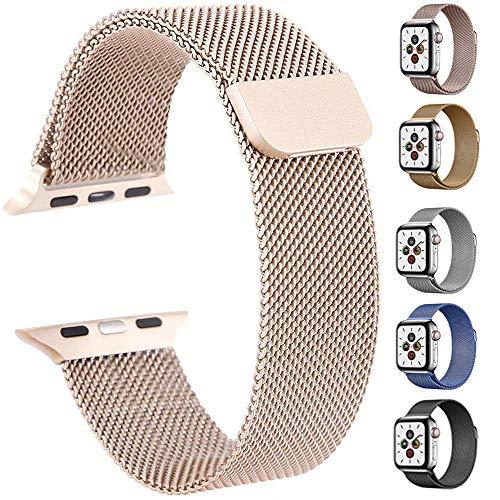 ATETION Ersatzarmband kompatibel mit Apple Watch 40mm 38mm   Edelstahl Armband   Smartwatch Ersatzarmbänder mit Magnet kompatibel mit iWatch Series 5/4/3/2/1 (42mm/44mm, Roségold)