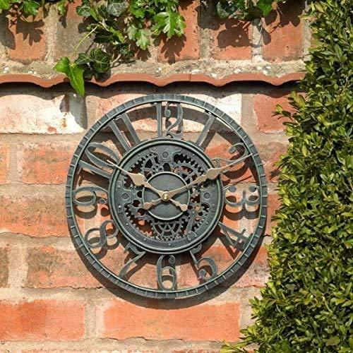Ewepdwo Outdoor Garten Wanduhr Große 30cm Hohlzahnrad Vintage Schiefer Effekt Wetterfest Outdoor Outdoor Garten Wanduhr Dekorative Zaun Garten Ornament