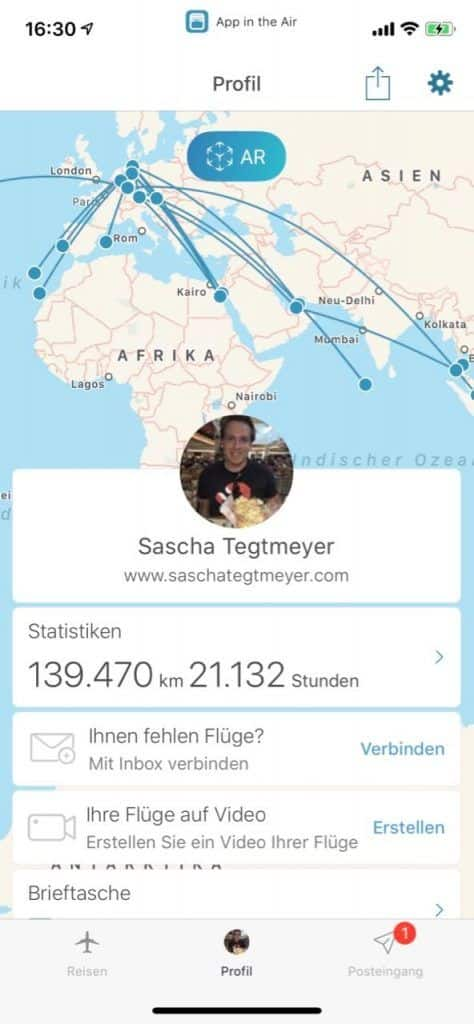 Soziales Netzwerk für Flugreisen: Wir haben App in the Air im Test ausgiebig ausprobiert.